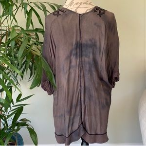 Free People Tops - Free People Brown Dye Embroidered Tunic